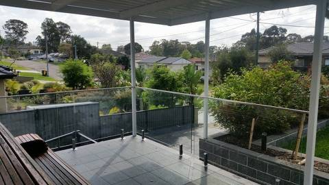 Frameless glass balustrade installed for a client's backyard patio in Adelaide suburbs